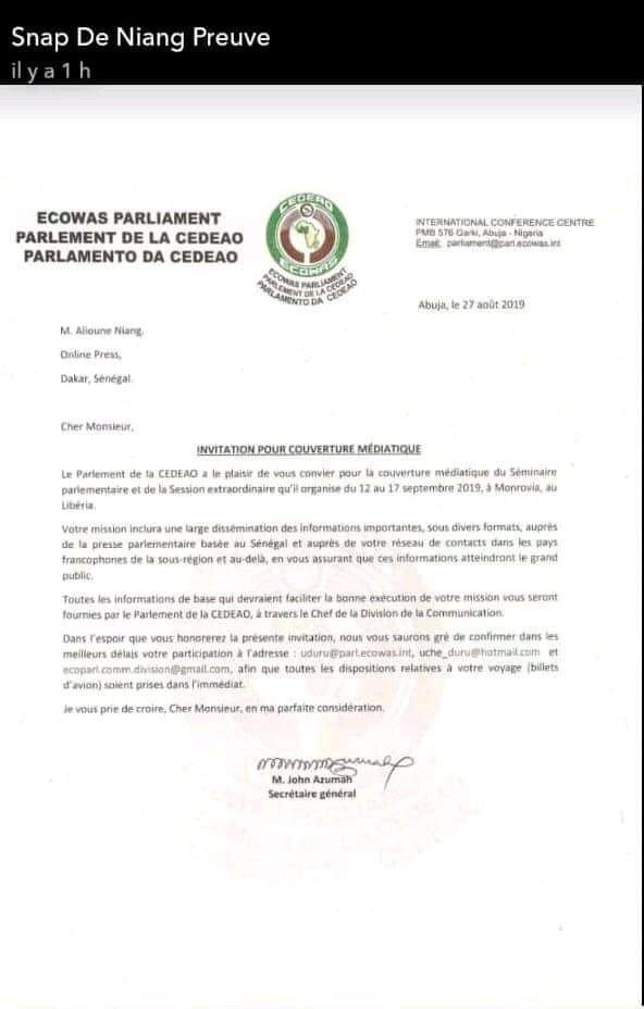 Couverture Parlement CEDEAO: Niang Xaragne Lô choisi à la place de la presse