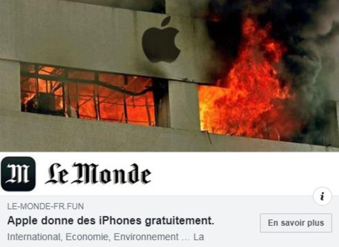 """iPhone gratuits: Des escrocs ont créé des faux sites """"Le Monde"""" pour arnaquer les internautes"""