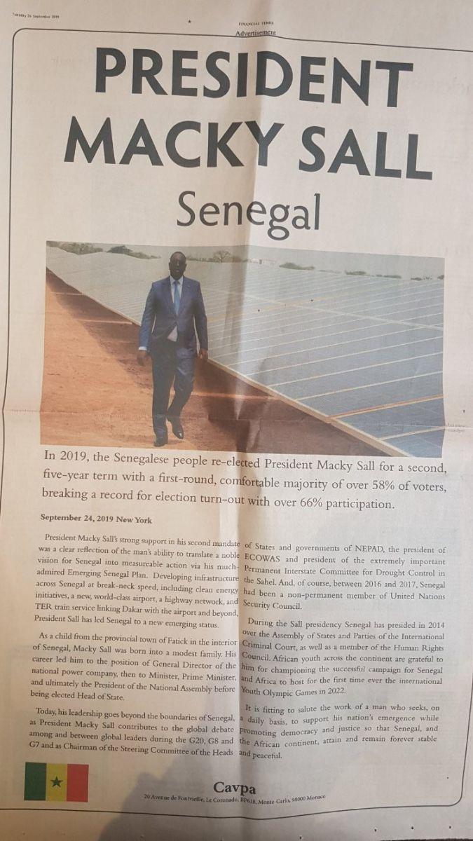 PHOTO : Macky Sall s'offre une pub d'1/2 page à 100 millions F Cfa dans Financial Times