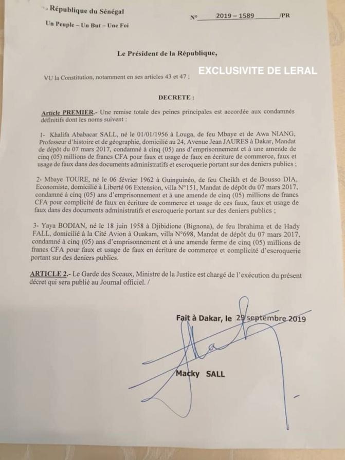URGENT- Khalifa Sall et ses coaccusés graciés
