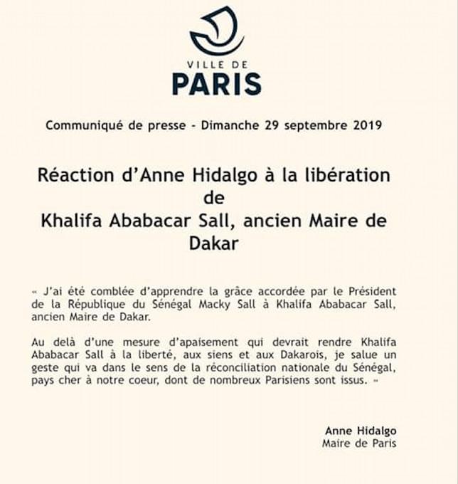 Libération de Khalifa Sall: la réaction d'Anne Hidalgo, maire de Paris
