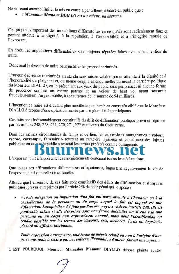 C'est fait !!! Mamour Diallo a déposé sa plainte pour diffamation et injures publiques contre Sonko