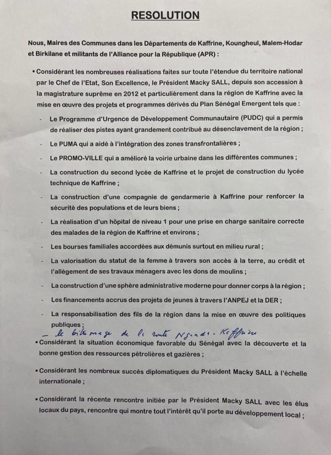 Kaffrine : 29 maires et un président de Conseil départemental lâchent Yaya Sow