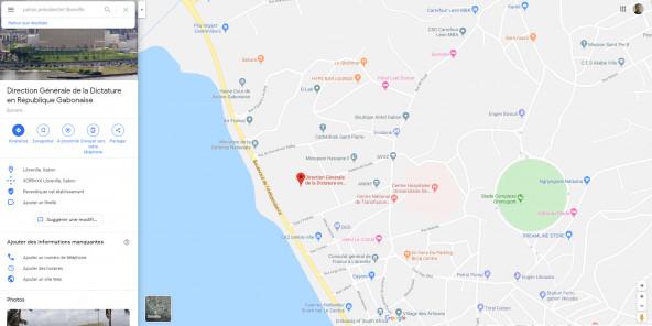 Gabon : quand Google Maps change le nom du palais présidentiel en « Direction générale de la dictature »