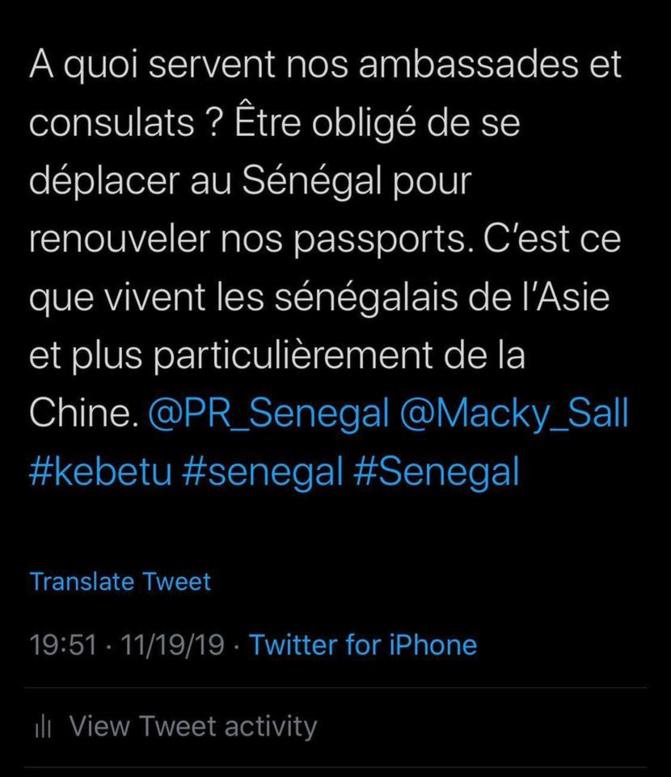 La direction des passeports insensible à la situation des sénégalais de chine