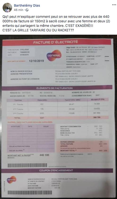 Hausse du prix de l'électricité: Barthélémy Dias publie sa facture de 440 000 FCfa (Photo)