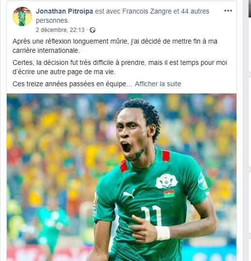 Le footballeur Jonathan Pitroipa prend sa retraite internationale