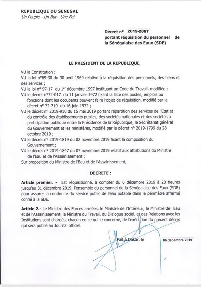 Macky Sall réquisitionne tous les agents de la SDE (décret)