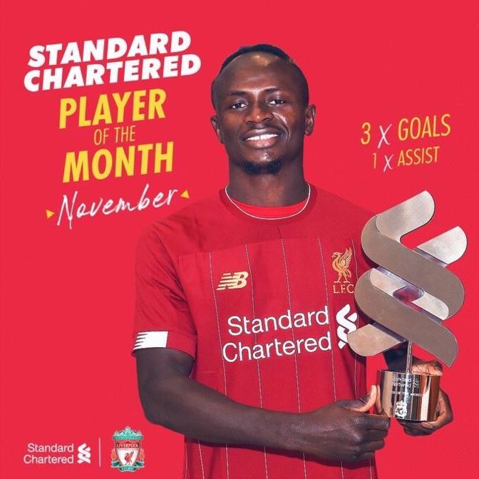 Liverpool : Sadio Mané élu joueur du mois de Novembre