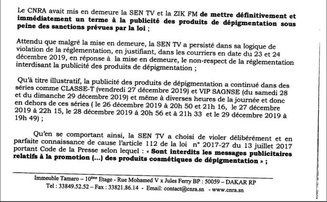 Sentv suspendue pour 7 jours : Ce que le CNRA reproche à la télé de Bougane (Documents)