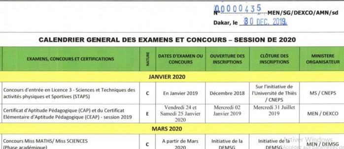 Consultez le Calendrier des examens et concours 2019