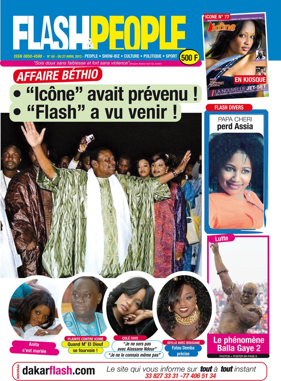 Voici la couverture de FLASH PEOPLE ET ICONE MAGAZINE