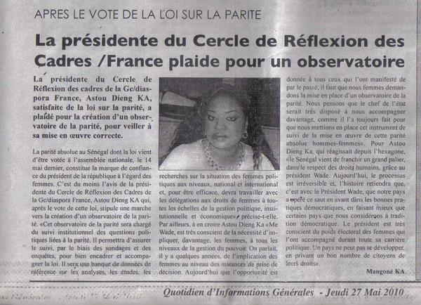 Mme ASTOU DIENG (Ex Membre de la CIS France et Ex Présidente du cercle de réflexion des cadres de la génération du concret Diaspora France)