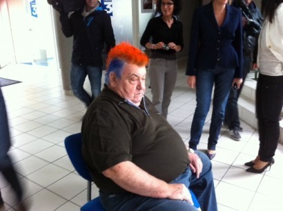 Loulou Nicollin. Photo de la crête « iroquoise » pour le titre de L1 de Montpellier !