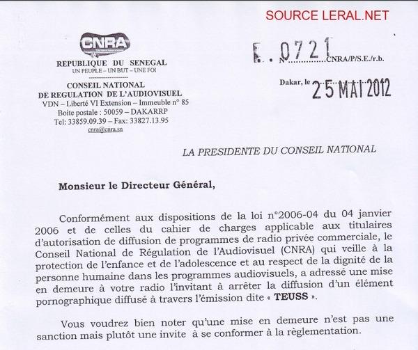 [Document exclusif] Le CNRA compte bien freiner Ahmed Aïdara