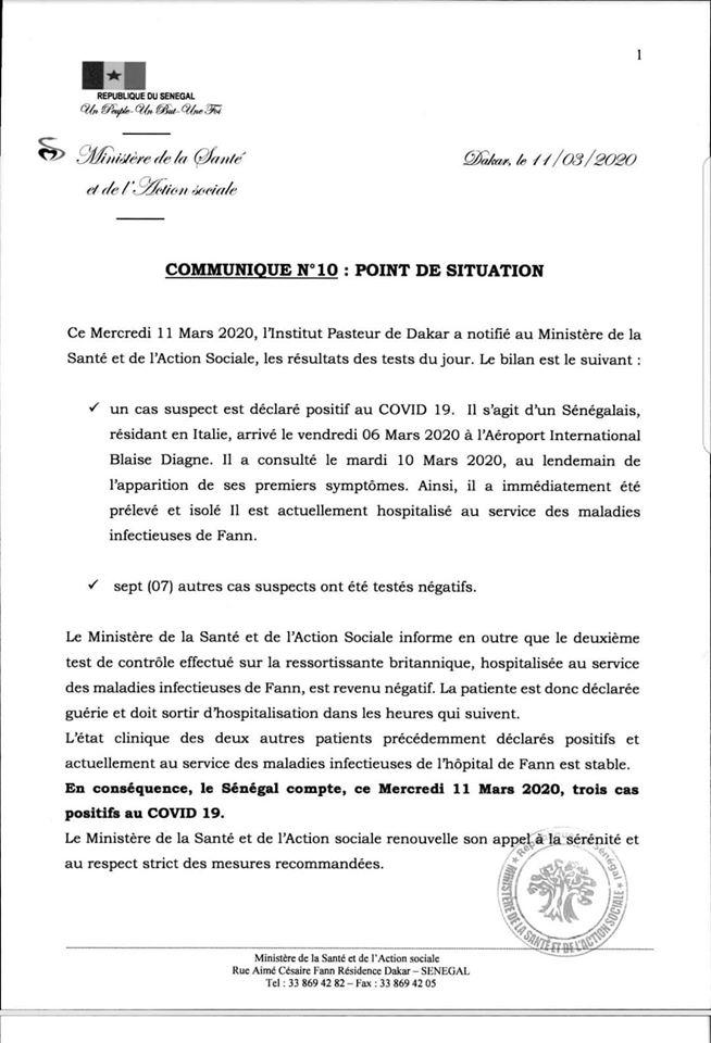 Urgent - Les nouvelles précisions du Ministère de la Santé, suite au nouveau cas recencé!