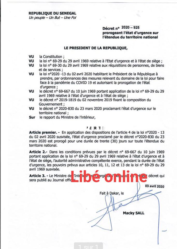 EXCLUSIVITE/PROLONGATION DU COUVRE-FEU ET DE L'ETAT D'URGENCE : Le décret de Macky Sall