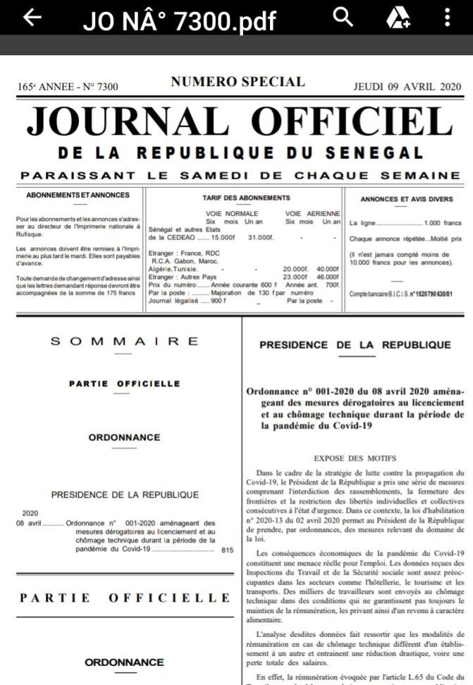 COVID-19/PRESERVATION DES EMPLOIS : Ce que dit l'ordonnance de Macky Sall
