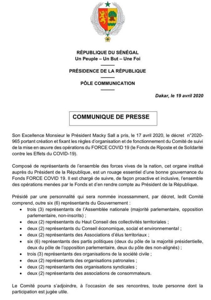Force Covid 19: Décret portant création et fixant les règles d'organisation et de fonctionnement du Comité de suivi