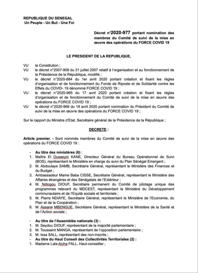 Force covid-19 : les 30 membres du Comité suivi connus