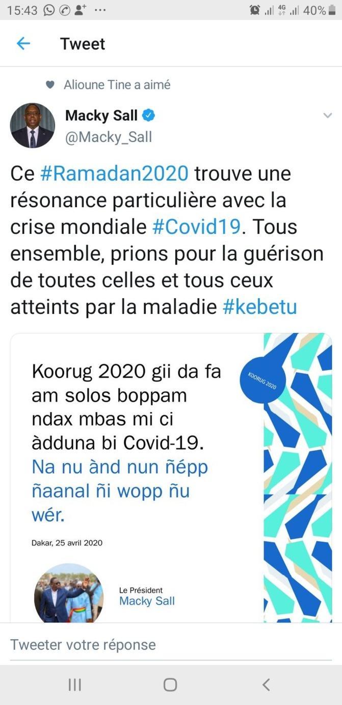 Ramadan et Covid-19 : le message de Macky Sall aux sénégalais
