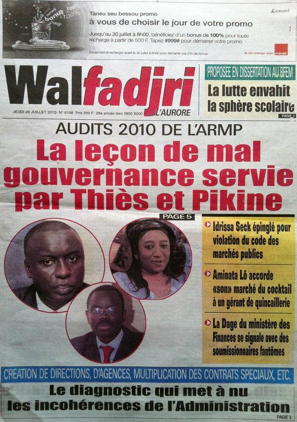 A la Une du Journal Walfadjiri du 26 Juillet
