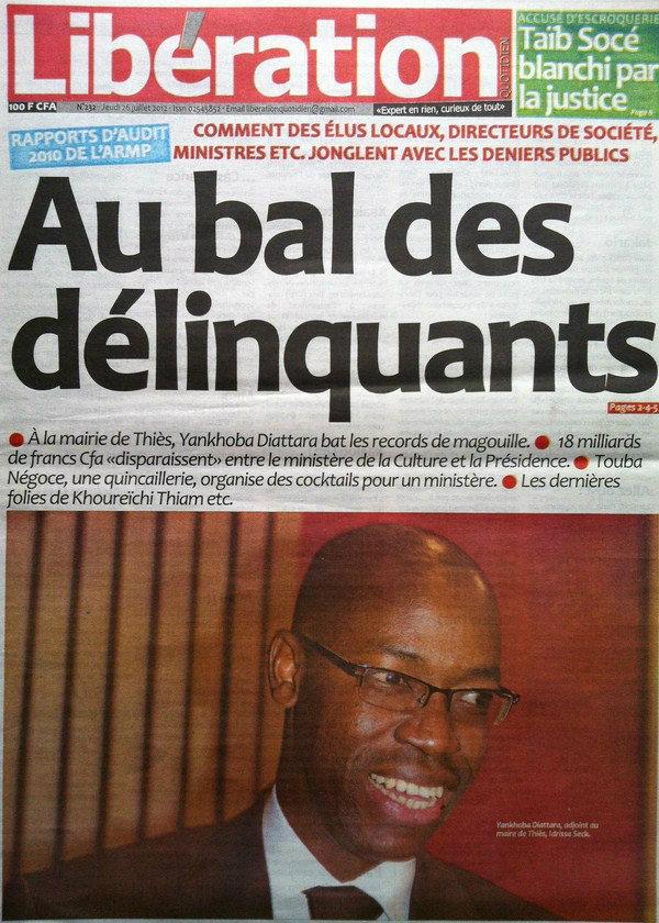 A la Une du Journal Libération du 26 Juillet