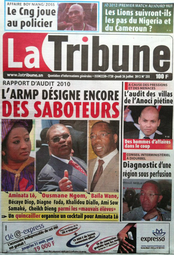 A la Une du Journal La Tribune du 26 Juillet