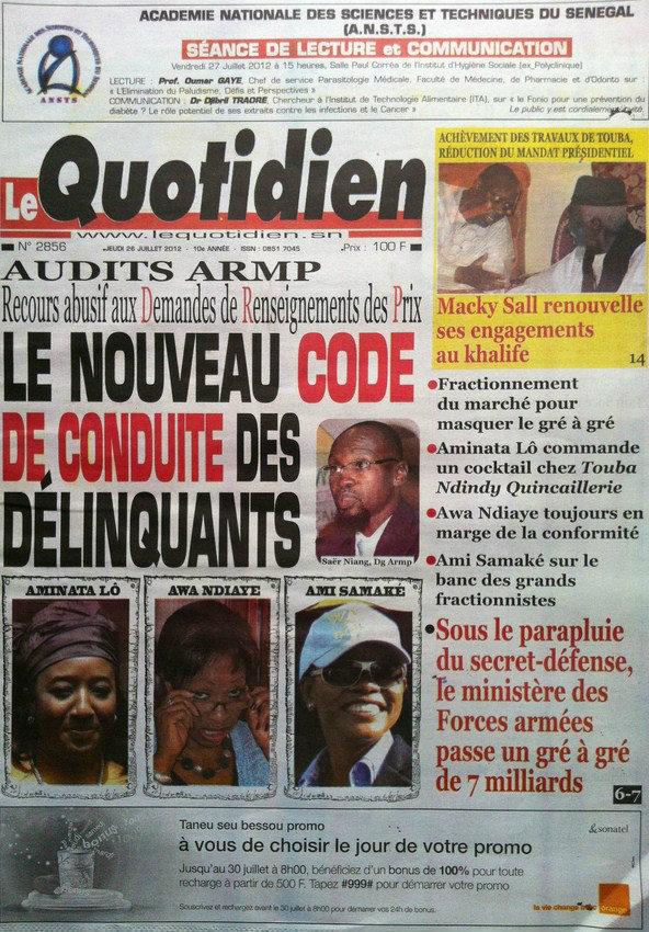 A la Une du Journal Le Quotidien du 26 Juillet
