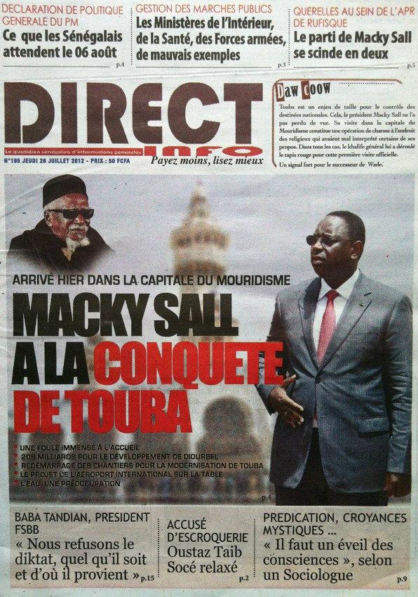 A la Une du Journal Direct Info du 26 Juillet