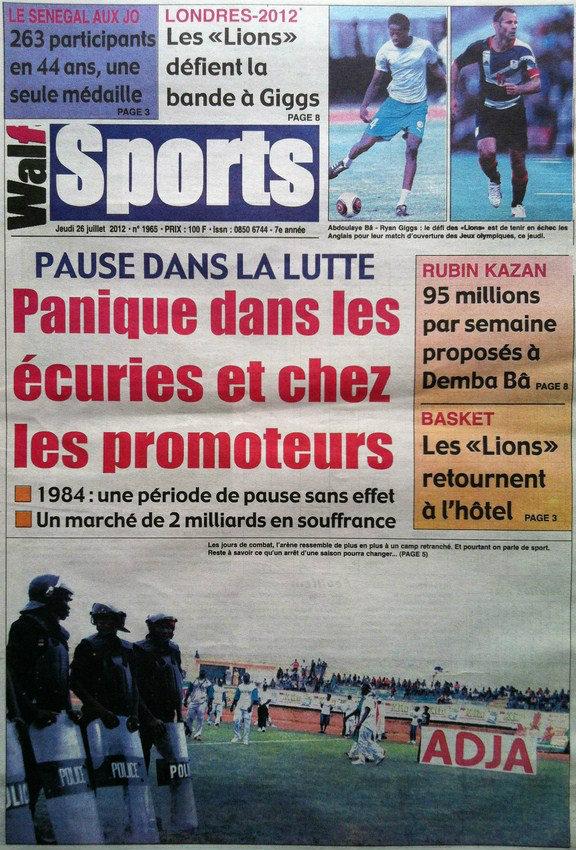 A la Une du Journal Walf Sport du 26 Juillet