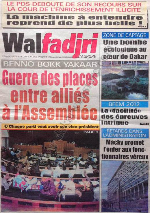 A la Une du Journal Walfadjri du 27 Juillet