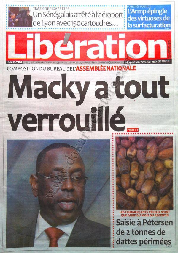 A la Une du Journal Libération du 28 Juillet