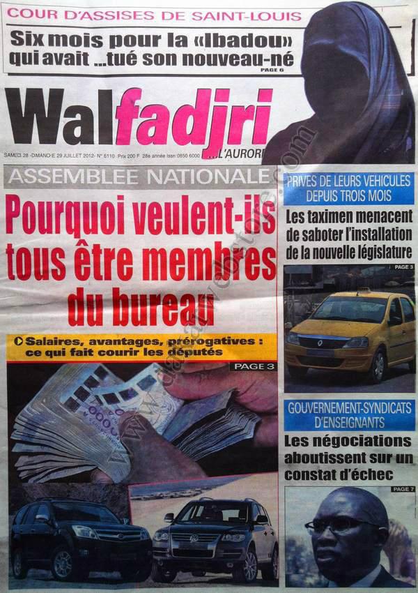 A la Une du Journal Walfadjri du 28 Juillet