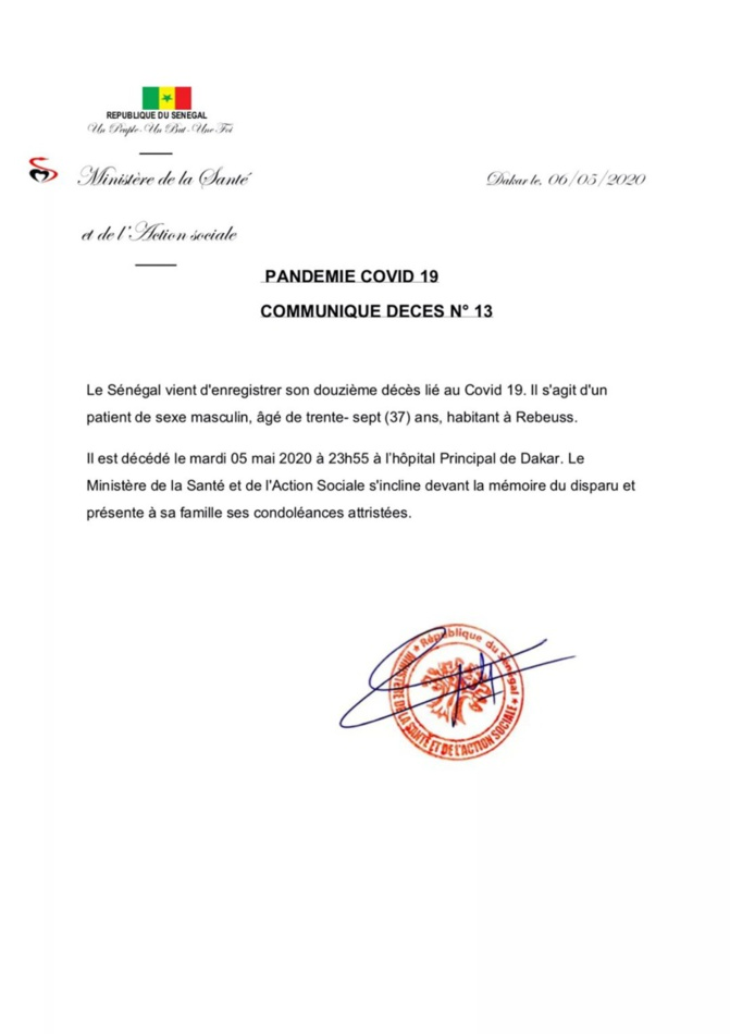 Covid-19 : Le Sénégal enregistre un 12e décès