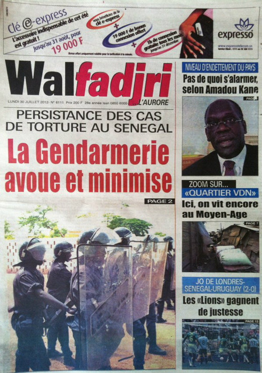 A la Une du Journal Walfadjri du 30 Juillet