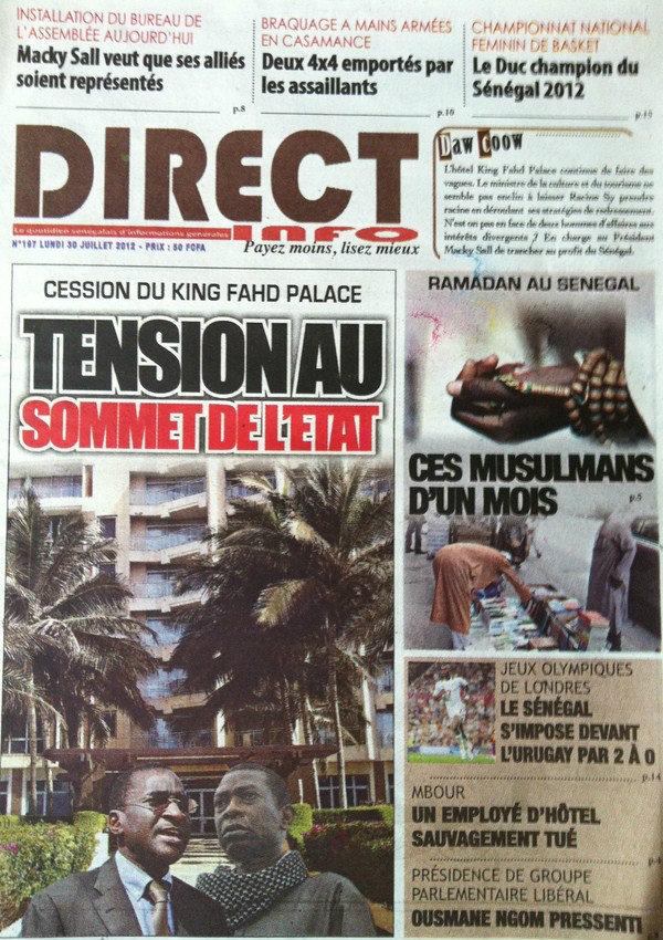 A la Une du Journal Direct Info du 30 Juillet