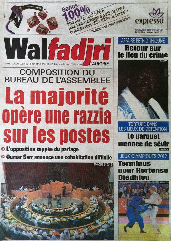 A la Une du Journal Walfadjri du 31 Juillet