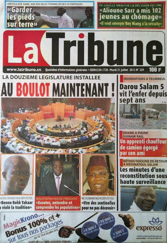 A la Une du Journal La Tribune du 31 Juillet