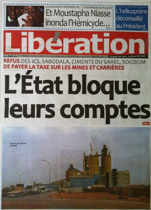 A la Une du Journal Libération du 31 Juillet