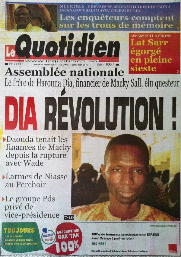 A la Une du Journal Le Quotidien du 31 Juillet