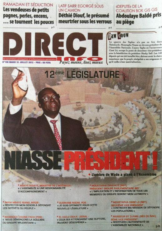 A la Une du Journal Direct Info du 31 Juillet