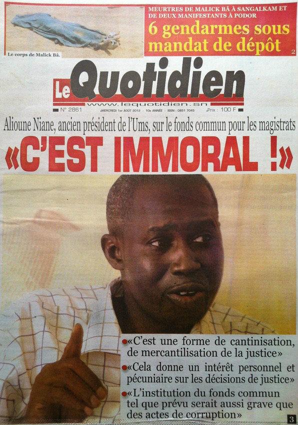 A la Une du Journal Le Quotidien du 01 Août