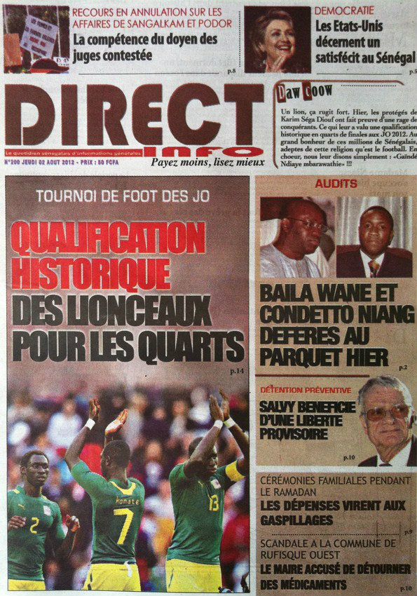A la Une du Journal Direct Info du 02 Août