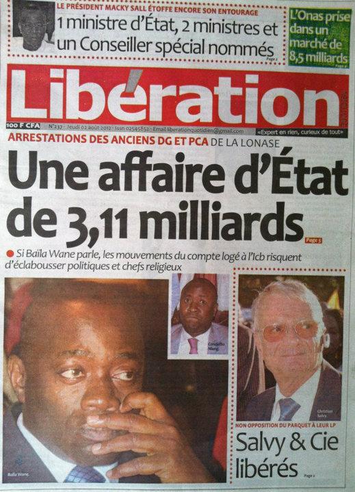A la Une du Journal Libération du 02 Août