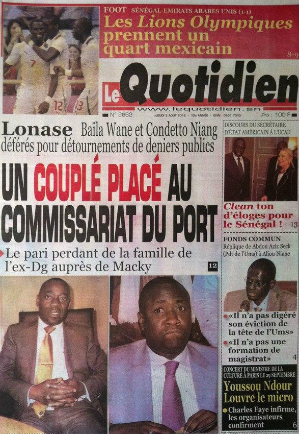 A la Une du Journal Le Quotidien du 02 Août