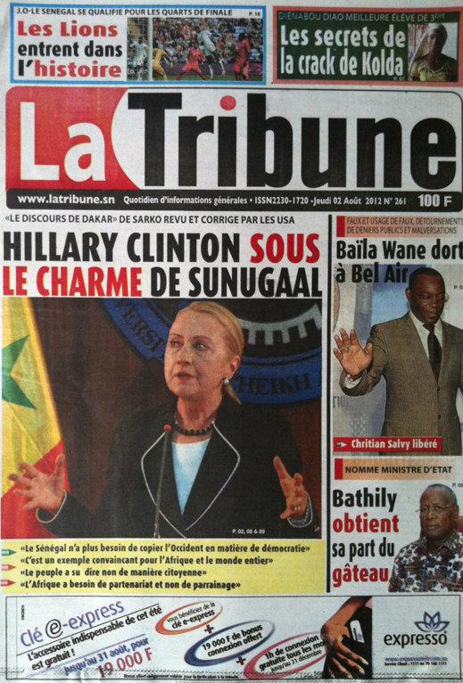 A la Une du Journal La Tribune du 02 Août