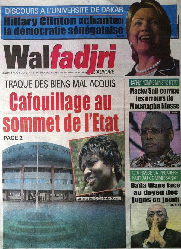 A la Une du Journal Walfadjri du 02 Août