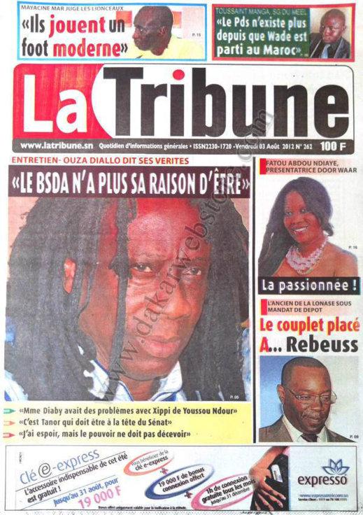 A la Une du Journal La Tribune du 03 Août