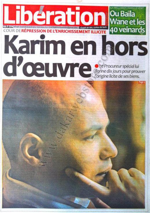 A la Une du Journal Libération du 03 Août